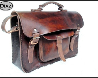 Brown Vegetable Tanned Leather Messenger Laptop Briefcase Cross-Body Satchel Bag - BBO1C