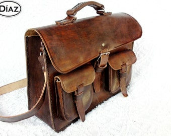 Dark Brown Rawhide Leather Messenger Laptop Satchel Bag BBC2BC
