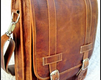 Small Leather Messenger Satchel / Backpack Laptop Bag in Crazy Horse Tanned Brown - (13in MacBook Pro / Air)