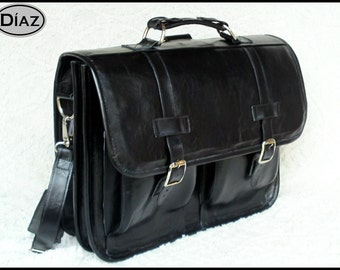 DIAZ Medium Leather Messenger Briefcase / Backpack Laptop Bag in Florencia Black - (15in MacBook Pro)
