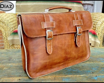DIAZ Medium Leather Briefcase / Laptop Bag  in Crazy Horse Tanned Brown - (15in MacBook Pro) - Free Monograming  -