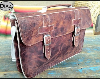 Medium Leather Portfolio / Laptop Bag  in Crazy Horse Dark Brown - (15in MacBook Pro) - Free Monograming  -