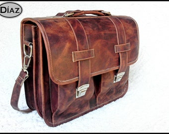 DIAZ Large Geunine Leather Briefcase / Backpack Laptop Messenger Bag in Crazy Horse Dark Brown - (17in MacBook Pro) - Free Shipping -