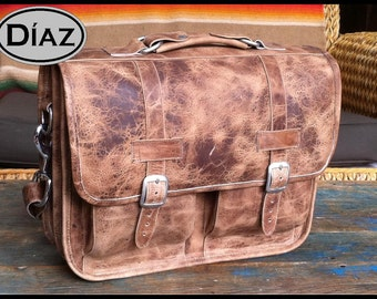 Medium Geunine Leather Briefcase / Backpack Laptop Messenger  Bag Satchel in Crazy Horse Natural Brown - (15in MacBook Pro) - Free Shipping
