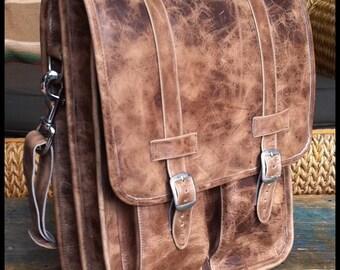 Medium Geunine Leather Messenger Satchel / Backpack Laptop Bag in Crazy Horse Natural Brown - (15in MacBook Pro)