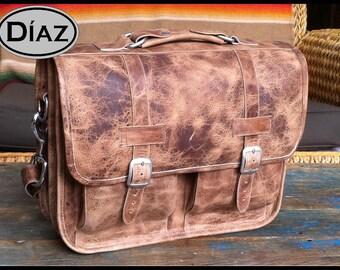 DIAZ Large Geunine Leather Briefcase / Backpack Laptop Messenger Satchel Crazy Horse Natural Brown - (17in MacBook Pro)