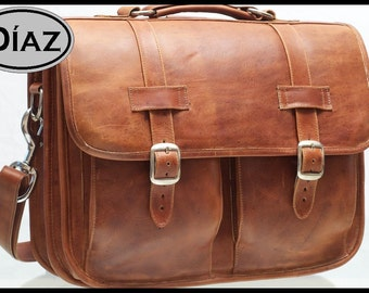 DIAZ Medium Leather Messenger Briefcase / Backpack Laptop Bag Satchel Crazy Horse Tanned Brown - (15in MacBook Pro) - HMCX