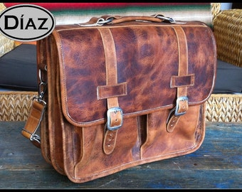 Large Genuine Leather Briefcase / Backpack Laptop Messenger Bag Satchel in Crazy Horse Yellow  - (17in MacBook Pro)