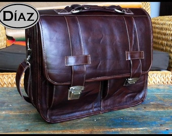 Medium Leather Messenger Briefcase / Backpack Laptop Bag Satchel in Antique Dark Brown - (15in MacBook Pro)