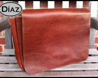 Small Genuine Leather Messenger Bag / Cross Body / Satchel in Crazy Horse Tanned Brown Leather