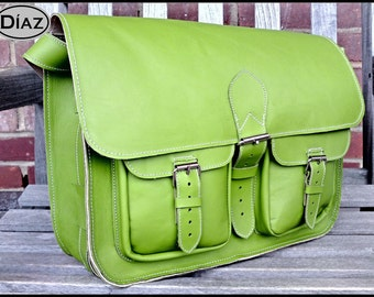 DIAZ Large Genuine Leather Cross Body / Shoulder Messenger Bag / Satchel in Green