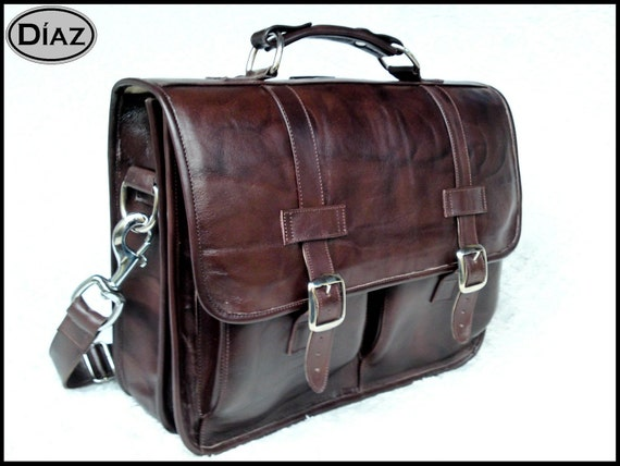 DIAZ Medium Leather Messenger Briefcase / Backpack Laptop Bag in Antique Dark Brown - (15in MacBook Pro)
