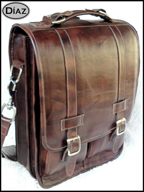 Large Geunine Leather Messenger Satchel / Backpack Laptop Bag in Antique Dark Brown - (17in MacBook Pro)