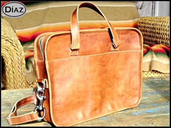 DIAZ Mini Leather  Portfolio / Briefcase in Crazy Horse Tanned Brown - (11in MacBook Air) - Free Monograming  -