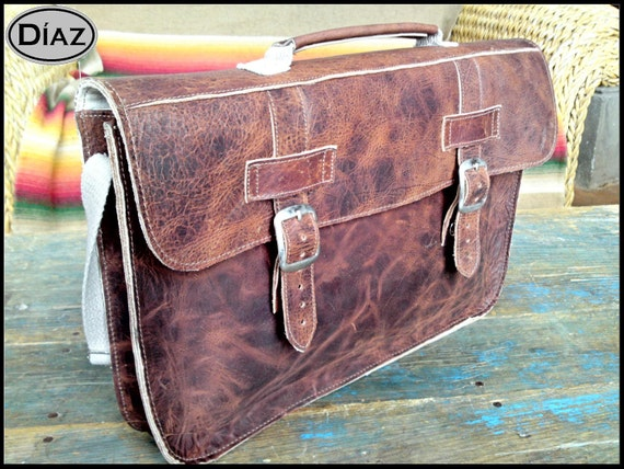 Medium Leather Portfolio / Laptop Bag  in Crazy Horse Dark Brown - (15in MacBook Pro) - Free Monograming  -