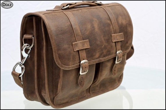 DIAZ Large Leather Messenger Briefcase / Backpack Laptop Bag Texas Brown - Large (17in MacBook Pro)