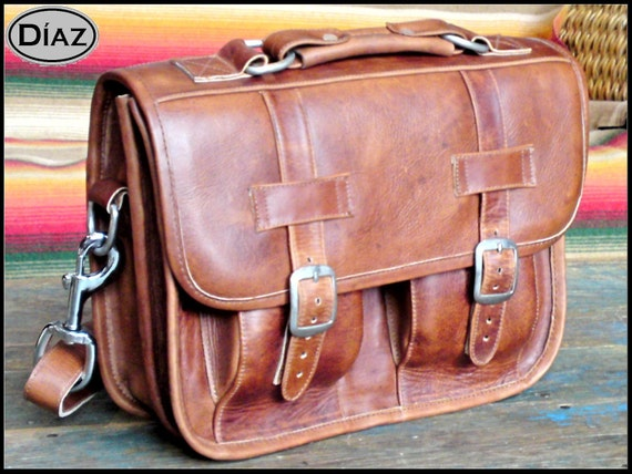 DIAZ Mini Leather Messenger Satchel / Backpack Laptop Briefcase in Crazy Horse Tanned Brown - (11in MacBook Air)