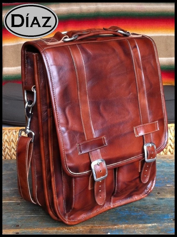 Medium Geunine Leather Messenger Satchel / Backpack Laptop Bag in Antique Light Brown - (15in MacBook Pro) - Free Shipping -
