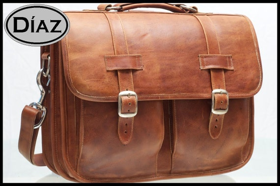DIAZ Large Genuine Leather Briefcase / Backpack Messenger Bag Satchel in Crazy Horse Tanned Brown - (17in MacBook Pro)