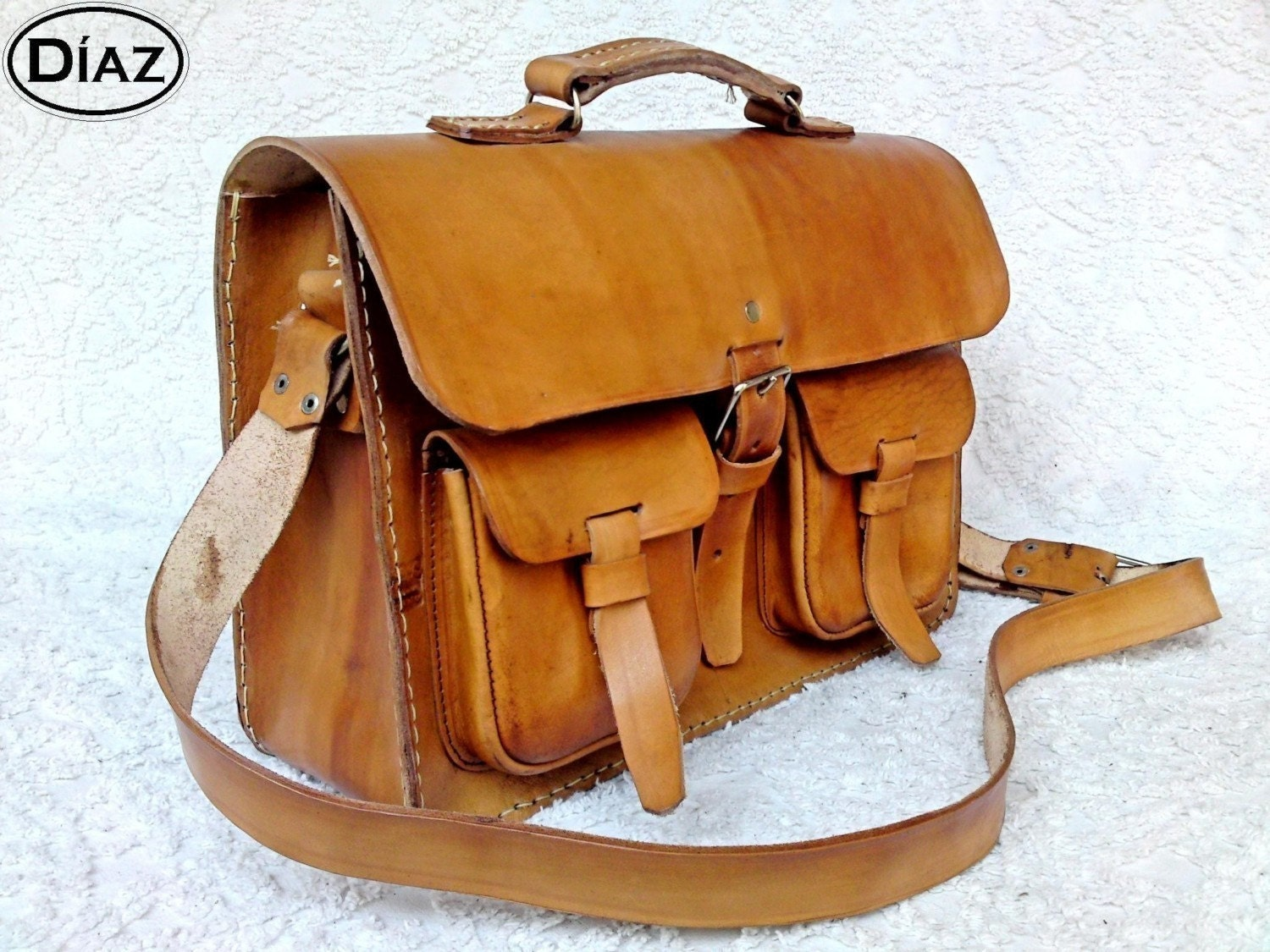 Light Tan Brown Rawhide Leather Messenger Laptop Satchel Bag