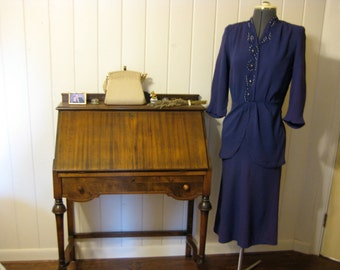 Royal Blue 1940s Dress with Peplum