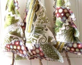 Rustic Green Patchwork Christmas Tree Ornament Set of THREE