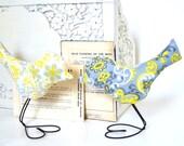 Wedding Cake Topper Love Birds, Modern Lemon Yellow, White and Gray, Spring Wedding, Baby Nursery Decor