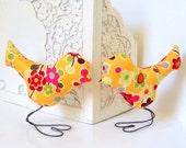 Wedding Cake Topper Love Birds, Summer Flower, Golden Yellow, Pink, Red, Orange and Green, Spring Wedding, Wedding Gift