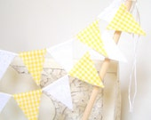 Mini Cake Party, Wedding Bunting, Banner, Vintage Sunshine Yellow Gingham and White, Spring Wedding, Baby Shower Decor