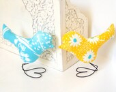 Wedding Cake Topper Love Birds, Sunshine Yellow, White Flower, Aqua Blue, Spring Wedding, Wedding Gift