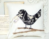 Love Bird Ring Bearer Pillow, Modern Black and Ivory Flowers, Burlap Branch, Spring Wedding, Burlap Wedding Decor