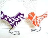 Wedding Cake Toppers, Love Birds in Modern Eggplant Purple, Persimmon, Tangerine Orange, White Flowers, Bridal Shower Decor, Home Decor