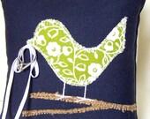Love Bird Ring Bearer Pillow, Rustic Green and White Flower, Burlap Branch, Navy Blue Pillow, Spring Wedding