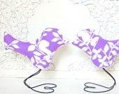 Modern Summer Lilac Purple Leaf Love Birds Home Decor and Wedding Cake Toppers, Spring Wedding, Wedding Gift