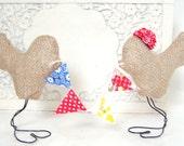 Rustic Burlap Love Bird Wedding Cake Toppers, Custom Love Fabric Bunting Banner, Anniversary Party Gift, Personalized, Lovebird Burlap Cake