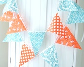 5 Party Banner, 11 Flag Bunting, Modern Orange Polka Dot and Aqua Blue Damask, Birthday, Baby Nursery Decor, Photo Prop, Baby Shower