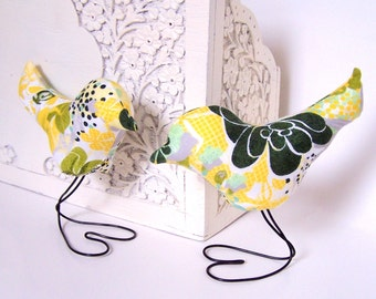 Modern Yellow and Green Floral Love Birds Set of TWO