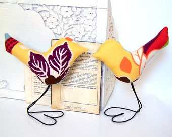 Wedding Cake Topper, Colorful Leaves Spring Love Birds Set of TWO