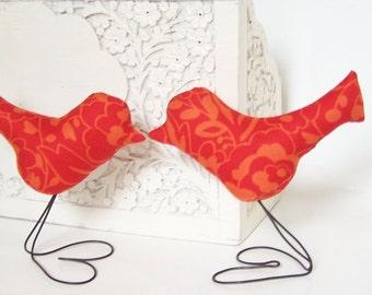 Wedding Cake Topper Love Birds, Bird Cupcake Toppers, Modern Floral Orange Red Love Birds Set of TWO