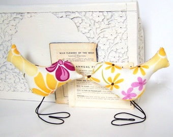 Modern Home Decor, Cake Toppers in Pretty Yellow, Orange, Purple and Green Spring Flowers Love Birds Set of TWO