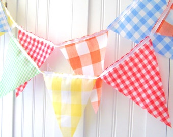 Vintage Gingham Banner, Bunting, Fabric Pennant Flags, Yellow, Red, Green, Orange, Blue, Birthday Party, Wedding Decor, Baby Nursery