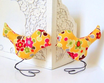 Wedding Cake Topper Love Birds, Summer Flower, Golden Yellow, Pink, Red, Orange and Green, Spring Wedding, Wedding Gift
