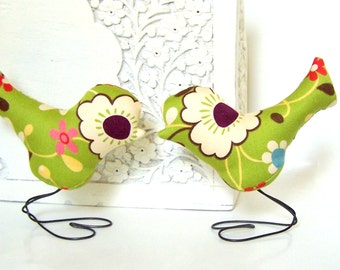 Wedding Cake Topper Love Birds, Green, Pink, Red, Blue, Purple, Yellow, Spring Wedding, Rustic Wedding Gift, Anniversary Gift, Baby Shower