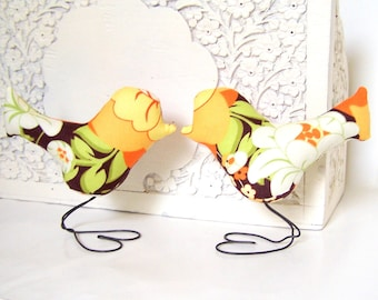 Wedding Cake Topper Love Birds, Bridal Shower Cake Topper, Orange, Yellow, Green, White, Brown, Autumn Home Decor, Anniversary Gift, Rustic