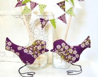 Wedding Cake Topper Love Birds, Bridal Shower Cake Topper, Anniversary Gift, Modern Purple, Lime Green Flowers, Summer Wedding, Wedding Gift