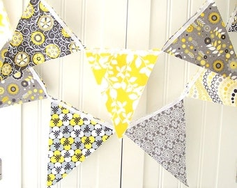 Fabric Banner, Bunting Pennant Flags, Yellow, Grey, Flower, Leaf, Wedding Garland, Baby Shower Banner, Birthday, Photo Prop, Gray Cotton