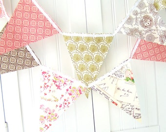 Banner, Bunting Pennant Fabric Flags,  Romantic Postcard, Vintage Pink, Green and Brown, Wedding Garland, Baby Nursery, Birthday Party