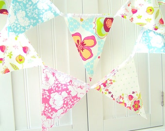 Shabby Chic Bunting Banner Pennant Fabric Flags, Birthday Party, Baby Shower, Nursery, Flower, Polka Dots, Pink, Aqua light Blue, Lime Green