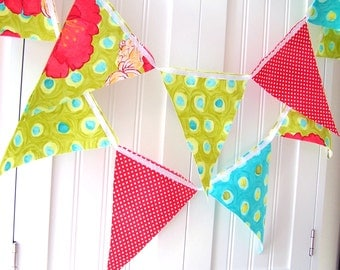 Bunting, Banner, Pennant Fabric Flags, Poppies, Polka Dots, Bright Coral Red, Lime Green, Aqua Blue, Wedding Decoration, Birthday Party