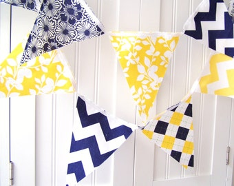 Banner, Bunting, Pennant Fabric Flags, Navy Blue, Bright Yellow Chevron Stripes, Argyle, Flowers, Leaves, Summer Wedding Decor, Baby Nursery